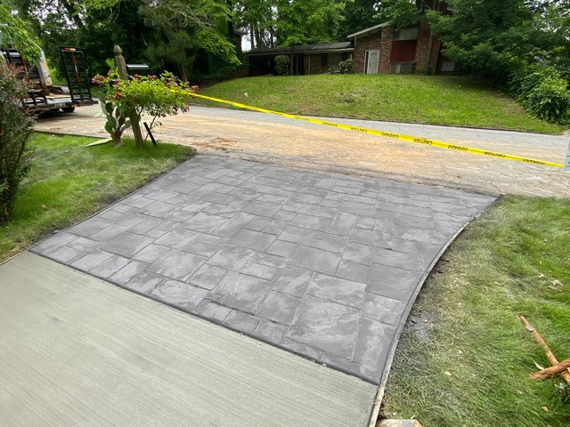 Decorative Stamped Concrete Driveway Apron