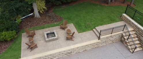 Patio Addition Fire Pit Stamped Concrete