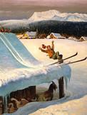 Barn Roof Skiing