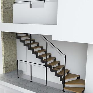 Création FL3D d'un escalier 2/4 tournant pour la société NOVIMETAL