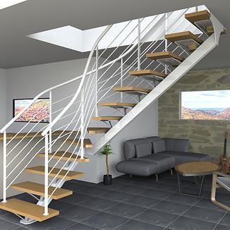 Réalisation de visuels et des plans de fabrication d'un escalier limon central droit 1/4 tournant pour l'entreprise PRECISTEEL