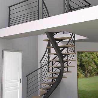 Réalisation de visuels et des plans de fabrication d'un escalier limon central débillardé 2/4 tournant pour l'entreprise PRECISTEEL
