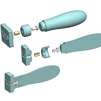Vue éclatée et transversale d'un tampon marqueur pour une Savonnerie Bio