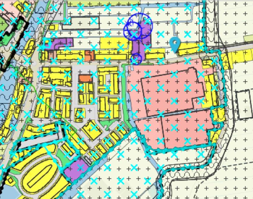 Bestemmingsplan Aardam - roze = Intratuin + uitbreiding