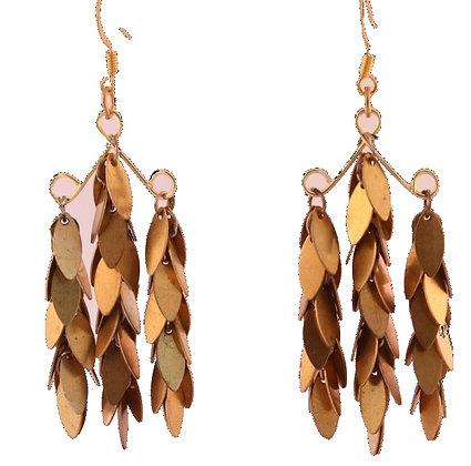 Tri Leaf Brass Earring