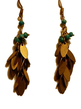 Turquoise Brass Leaf Dangle Earring