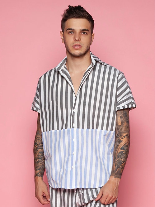 CAMISA OVERSIZED DOUBLE LISTRAS