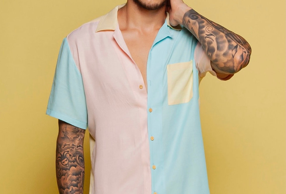 CAMISA AMPLA CANDY COLORS TRICOLOR