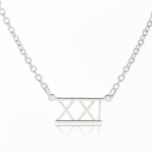 Roman Numeral Bar Necklace- XXI (21)
