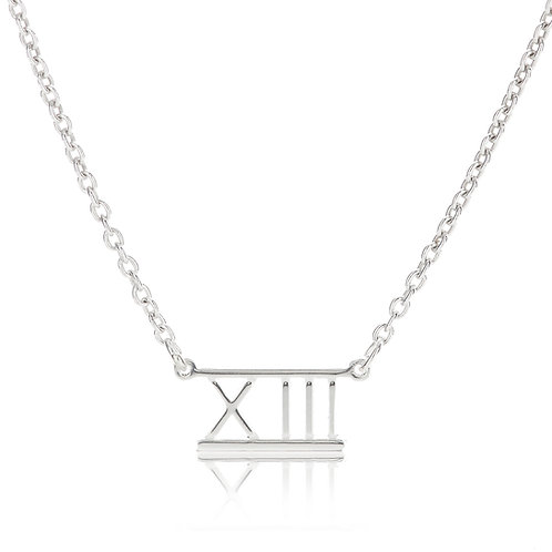 Roman Numeral Bar Necklace- XIII (13)