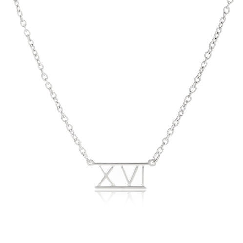 Roman Numeral Bar Necklace- XVI (16)