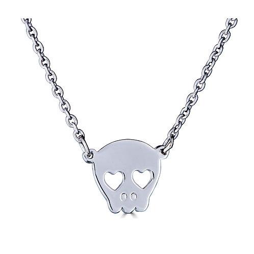 Skull w/ Heart Eyes Necklace