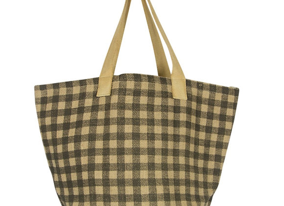 Gingham Jute Shopper Army