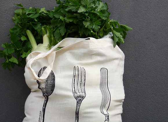Calico Folded Sacks - cutlery pouch