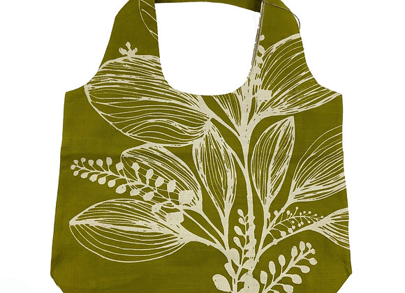 Slub Cotton Shopper -Green Reverse Foliage