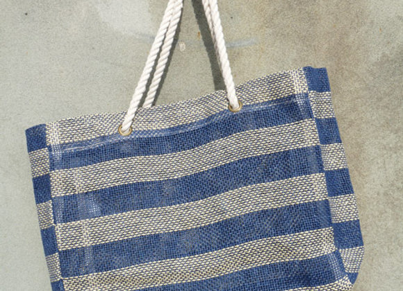 paper stripe bag: navy
