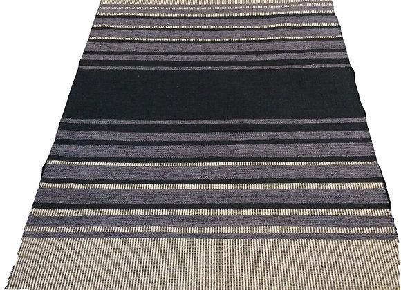Hemp mat stripe charcoal  160 x 230