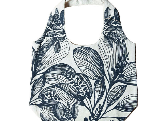 Slub Cotton Shopper -Charcoal  Foliage