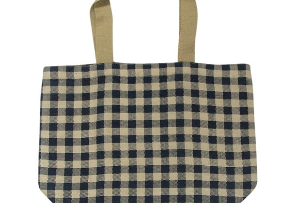 Gingham Tote Navy