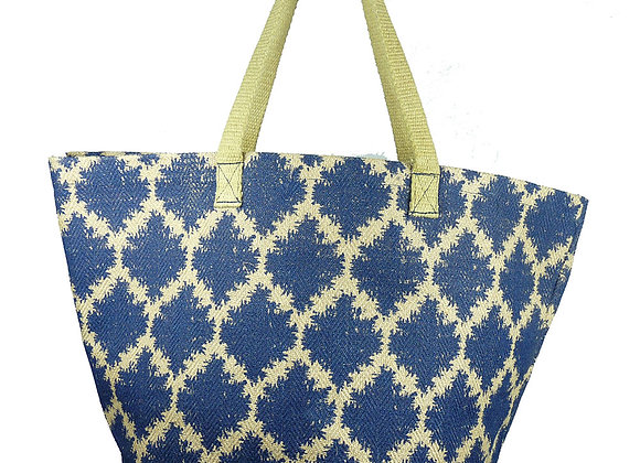 Jute Shopper Rhombus Navy