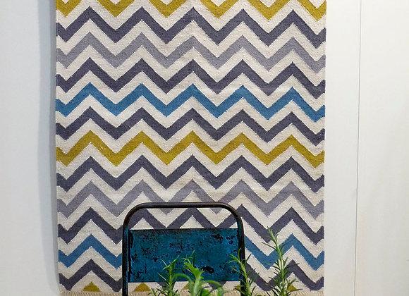 Wool Dhurrie - 2m x 3m : zigzag multi