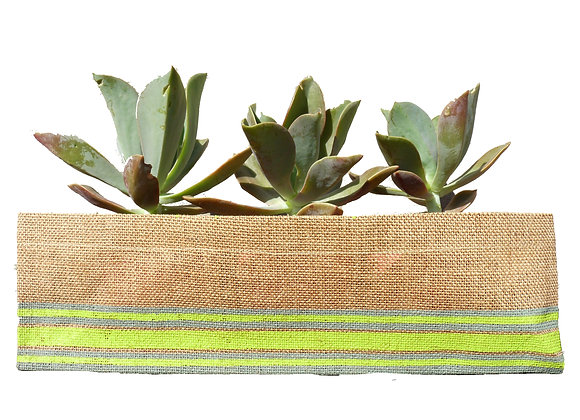 Jute Planter Stripe Lime