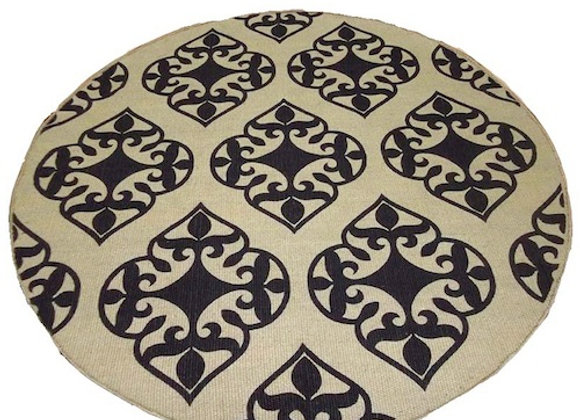 Round Printed Jute Mat : charcoal