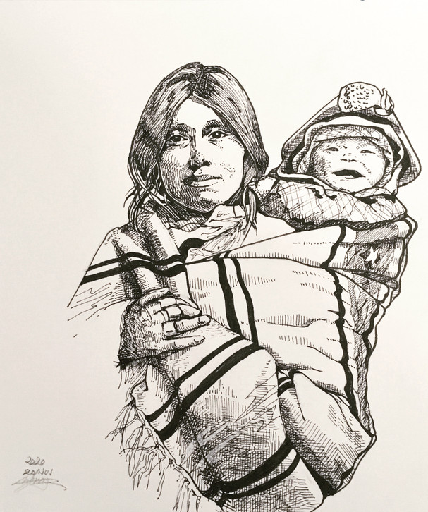 woman with baby-inkdrawing-by lemon ming