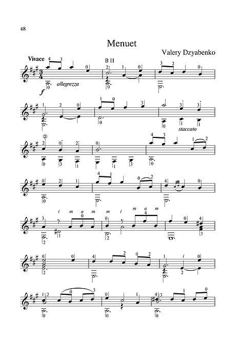Sheet music. Composer V. Dzyabenko. Minuet for classical guitar. Page 48.Noten. Komponist V. Dzyabenko. Menuett für klassische Gitarre. Seite 48.Partituras, compositor V. Dzyabenko, minueto para guitarra clássica. P. 48.Spartito, compositore V. Dzyabenko, Minuetto per chitarra classica. Pagina 48.Partition Compositeur V. Dzyabenko Menuet pour guitare classique. Page 48.Noter, kompositör V. Dzyabenko. Minuet för klassisk gitarr. Sida 48.Noter. Komponist V. Dzyabenko. Minuet for klassisk gitar. Side 48.Μουσική σεντόνι. Συνθέτης V. Dzyabenko. Minuet για κλασική κιθάρα. Σελίδα 48.Ноти. Композитор В. Дзябенко. Минут за класическа китара. Страница 48.Partituri. Compozitor V. Dzyabenko. Minuet pentru chitară clasică. Pagina 48.Kotta: Zeneszerző V. Dzyabenko, Minuet klasszikus gitárra. 48. oldal.Notalar, besteci V. Dzyabenko, klasik gitar için minuet. Sayfa 48.Nodehæfter. Komponist V. Dzyabenko. Minuet til klassisk guitar. Side 48.乐谱,作曲家V. Dzyabenko。古典吉他的Minuet。 第48页。