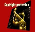 Urheberrechtsschutz. Logo der Gitarrenmusik-Website.