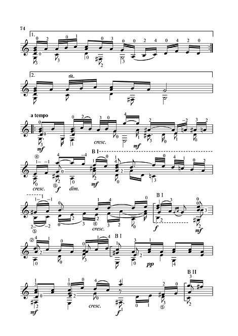 Sheet music - arrangement for the aria guitar from suite No. 3 by I.S.Bach. page 74 continued