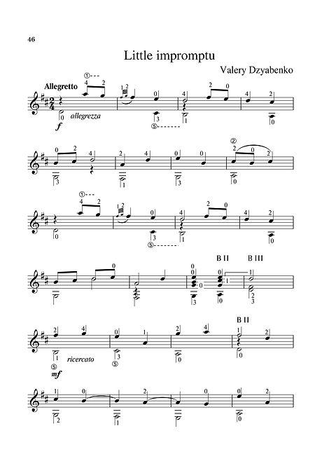 Sheet music. Composer V. Dzyabenko. A little impromptu for classical guitar. Page 46.Noten. Komponist V. Dzyabenko. Ein wenig spontan für klassische Gitarre. Seite 46.Partituras, compositor V. Dzyabenko, um pouco de improviso para violão clássico. P. 46.Spartito Compositore V. Dzyabenko Un po 'improvvisato per chitarra classica. Pagina 46.Partition. Compositeur V. Dzyabenko. Un petit impromptu pour guitare classique. Page 46.Bileog cheoil. Cumadóir V. Dzyabenko. Rud beag neamhspreagtha don ghiotár clasaiceach. Leathanach 46.Bladmuziek Componist V. Dzyabenko Een beetje geïmproviseerd voor klassieke gitaar. Blz.46.Nuty Kompozytor V. Dziżabenko Trochę improwizowany na gitarę klasyczną. Str. 46.Nuotit, säveltäjä V. Dzyabenko. Hieman improvisoitu klassinen kitara. Sivu 46.Ноти. Композиторът В. Дзябенко. Малко импровизирано класическа китара. Страница 46.Нота, композитор В. Дзјабенко, мали импровизам за класичну гитару. Паге 46.Μουσική σεντόνι. Συνθέτης V. Dzyabenko. Λίγο αυτοσχέδιο για την