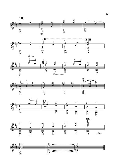 Sheet music. Composer V. Dzyabenko. A little impromptu for classical guitar. Page 47. Continued.