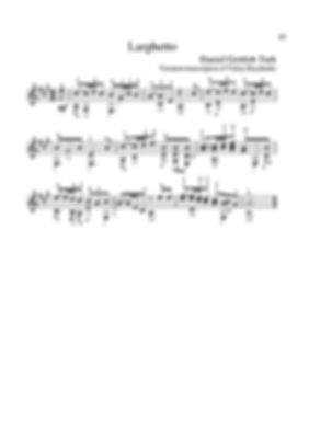 Polyphonic score for guitar. D.G.Turk. Arrangement for guitar. Larghetto.page 25