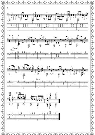 Ноты с табулатурой для гитары  - продолжение польки. стр 8.  Композитор Валерий Дзябенко.