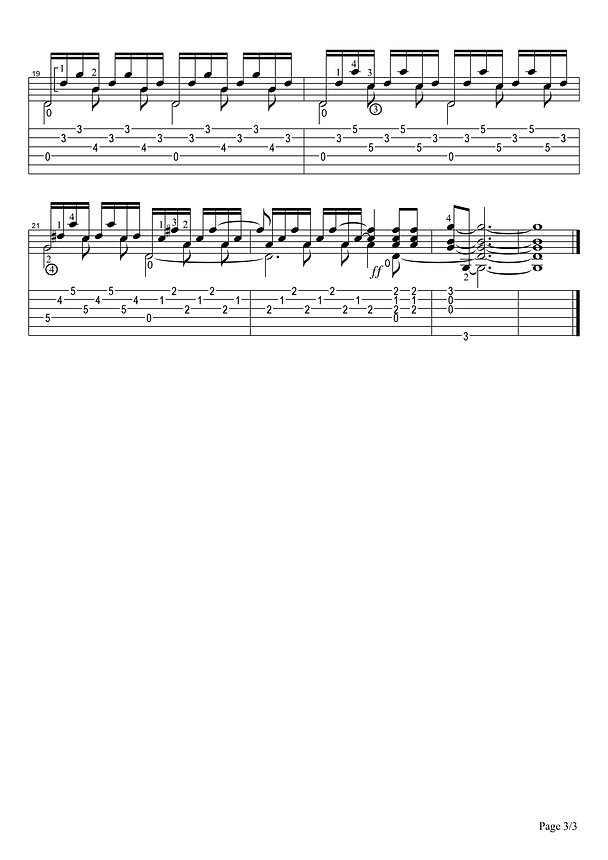 Sheet music and tablature of Etude No. 3 in G major for classical guitar. Page 3