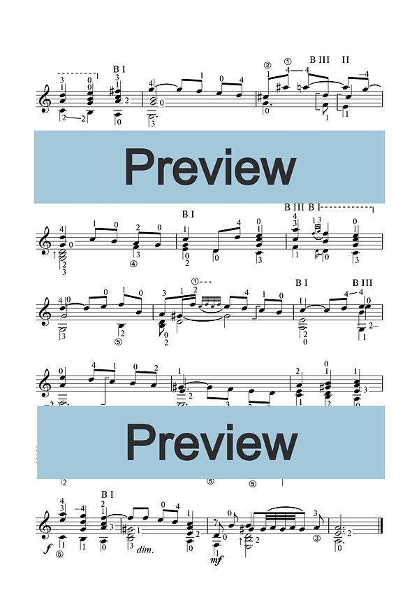 Ноты сарабанды И.С.Баха. Переложение для классической гитары. страница 2.