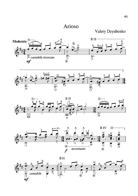 Sheet music. Composer V. Dzyabenko. Arioso in D major for classical guitar. Page 65.Noten. Komponist V. Dzyabenko. Arioso in D-Dur für klassische Gitarre. Seite 65.Partituras, compositor V. Dzyabenko. Arioso em D maior para violão clássico. P. 65.Spartito Compositore V. Dzyabenko. Arioso in re maggiore per chitarra classica. Pagina 65.Bileog cheoil. Cumadóir V. Dzyabenko. Arioso in D major don ghiotár clasaiceach. Leathanach 65.Noder Komponist V. Dzyabenko. Arioso i D-dur til klassisk guitar. Side 65.Partition Compositeur V. Dzyabenko. Arioso en ré majeur pour guitare classique. Page 65.翻訳:作曲家V.ジャベンコ。 アリオソクラシックギターのニ長調。 65ページ乐谱,作曲家V. Dzyabenko。 D大调的Arioso古典吉他手。 第65页。Ноти. Композиторът В. Дзябенко. Ариосо в мажор за класическа китара. Страница 65.Παρτιτούρα, συνθέτης V. Dzyabenko. Το Arioso στο D major για την κλασική κιθάρα. Σελίδα 65.Digitale instrumenter. Komponist V. Dzyabenko. Arioso i D-dur for klassisk gitar. Side 65.