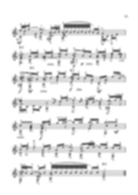 Arrangement score for guitar aria from suite No. 3 by I.S.Bach - continued. page 75