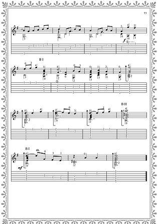 Fortsetzung der Noten und Tabulatur des englischen Tanzes. Seite 11. Komponist Valery Dzyabenko.