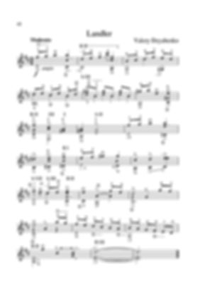 Sheet music. Composer V. Dzyabenko. Landler. Piece for classical guitar. Page 42.Noten. Komponist V. Dzyabenko. Landler. Stück für klassische Gitarre. Seite 42.Partituras, compositor V. Dzyabenko, Lendler, peça para guitarra clássica. P. 42.Spartito, compositore V. Dzyabenko, Landler, pezzo per chitarra classica. Pagina 42.Partition V. Compositeur V. Dzyabenko Landler Pièce pour guitare classique. Page 42.Bileog cheoil. Cumadóir V. Dzyabenko. Landler. Píosa don ghiotár clasaiceach. Leathanach 42.Noder. Komponist V. Dzyabenko. Landler. Stykke til klassisk guitar. Side 42.Noter, Kompositör V. Dzyabenko, Lendler. Stycke för klassisk gitarr. Sida 42.Noty, skladatel V. Dzyabenko, Lendler, kousek pro klasickou kytaru. Strana 42.乐谱,作曲家V. Dzyabenko。Landler。古典吉他乐曲。 第42页。Ноти. Композитор В. Дзябенко. Лендър. Парче за класическа китара. Страница 42.Нота, композитор В. Диабенко, Ландлер, комад за класичну гитару. Паге 42.Tónleikar. Tónskáld V. Dzyabenko. Lendler. Verk fyrir klassískan gítar. Bls.