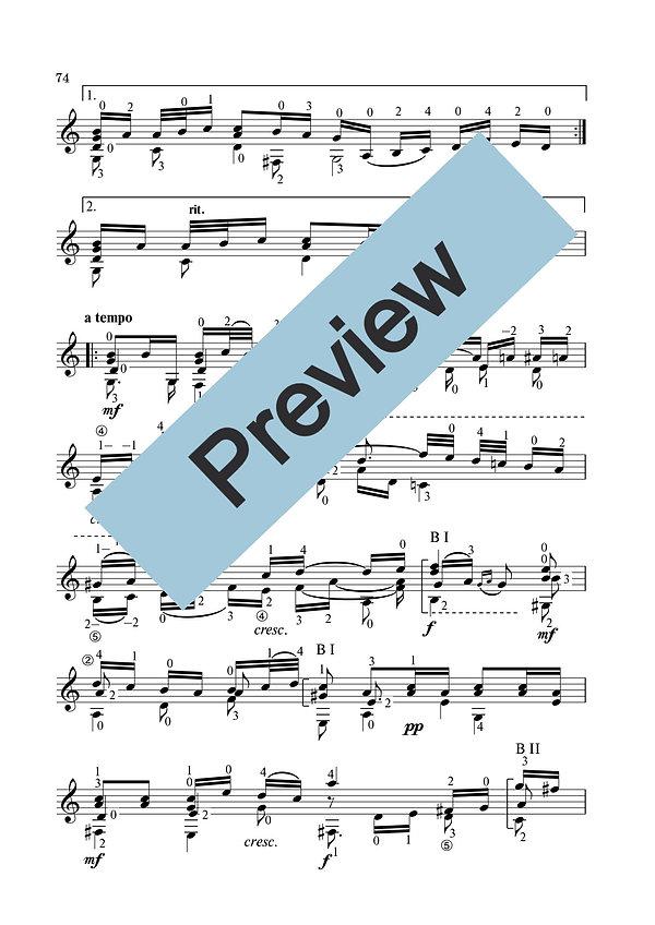 Ноты арии из сюиты № 3 И.С.Баха. Переложение для классической гитары. страница 2.