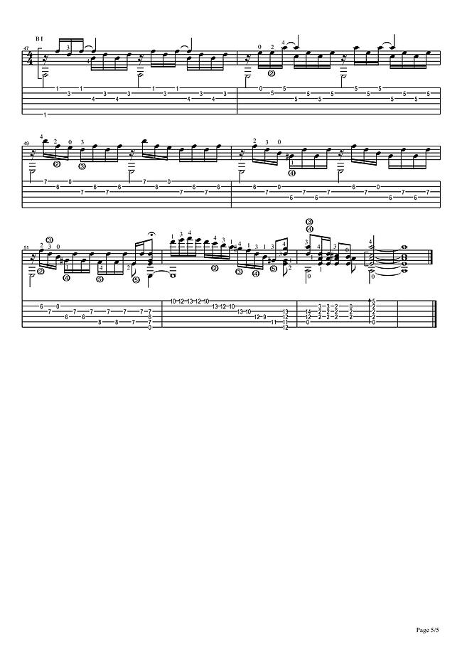 Ноты и табулатура прелюдии ля минор для классической гитары . 5 страница.