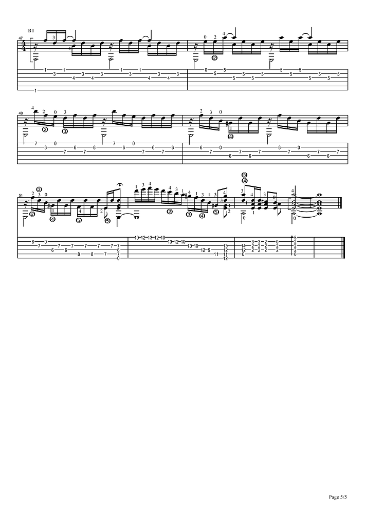 Sheet music and tablature prelude in A minor for classical guitar. 5 page.