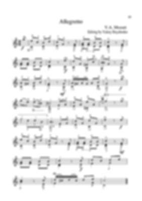 Sheet music. Composer V.A. Mozart. Allegretto. Arrangement for classical guitar. Page 41.Noten. Komponist V.A. Mozart. Allegretto. Arrangement für klassische Gitarre. Seite 41.Partituras, compositor V.A. Mozart, Allegretto, arranjo para guitarra clássica. P. 41.Spartito, compositore V.A. Mozart, allegretto, arrangiamento per chitarra classica. Pagina 41.Partition. Compositeur V.A. Mozart. Allegretto. Arrangement pour guitare classique. Page 41.Bileog cheoil. Cumadóir V.A. Mozart. Allegretto. Socrú don ghiotár clasaiceach. Leathanach 41.Noter. Kompositör V.A. Mozart. Allegretto. Arrangemang för klassisk gitarr. Sida 41.Bladmuziek Componist V.A. Mozart Allegretto Arrangement voor klassieke gitaar. Blz.41.Μουσική σεντόνι. Συνθέτης V.A. Μότσαρτ. Allegretto. Ρύθμιση για κλασική κιθάρα. Σελίδα 41.Ноти. Композитор В. А. Моцарт. Алегрето. Аранжимент за класическа китара. Страница 41.活页乐谱,作曲家V.A.莫扎特,阿勒格列托,古典吉他的编曲。 页41。Notalar, besteci V.A. Mozart, Allegretto, klasik gitar aranjmanı. Sayfa 41.