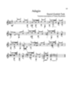 Polyphonic score for guitar. D.G.Turk. Arrangement for guitar. Adagio. page 19