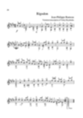 Arrangement score for guitar of rigodon in C major from the sonata of Jean-Philippe Rameau.  page 36