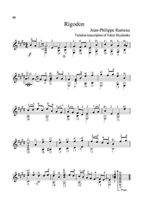Sheet music. Composer J.F. Rameau. Rigaudon in E Major. Arrangement for guitar. Page 36.Noten. Der Komponist J. F. Rameau. Rigaudon in E-Dur. Arrangement für Gitarre. Seite 36.Partitura. Compositor J.F. Rameau, Rigaudon em Mi maior. Arranjo para violão. P. 36.Partitura. Compositor J.F. Rameau, Rigaudon en mi mayor. Arreglo para guitarra. Página 36.Spartito. Compositore J.F. Rameau, Rigaudon in mi maggiore. Arrangiamento per chitarra. Pagina 36.Bileog cheoil. Cumadóir J.F. Rameau. Rigaudon in E Major. Socrú don ghiotár. Leathanach 36.Nodeblad. Komponist J.F. Rameau Rigaudon i E-dur. Arrangement til guitar. Side 36.Partition. Compositeur J.F. Rameau, Rigaudon en mi majeur. Arrangement pour guitare. Page 36.Noter. Kompositör J.F. Rameau Rigaudon i E-major. Arrangemang för gitarr. Sida 36.Nota. Besteci J.F. Rameau, Rigaudon, E Major. Gitar için düzenleme. Sayfa 36.Kotta. Zeneszerző J. F. Rameau, Rigaudon az E-dúrban. Elrendezés a gitárhoz. 36. oldal.