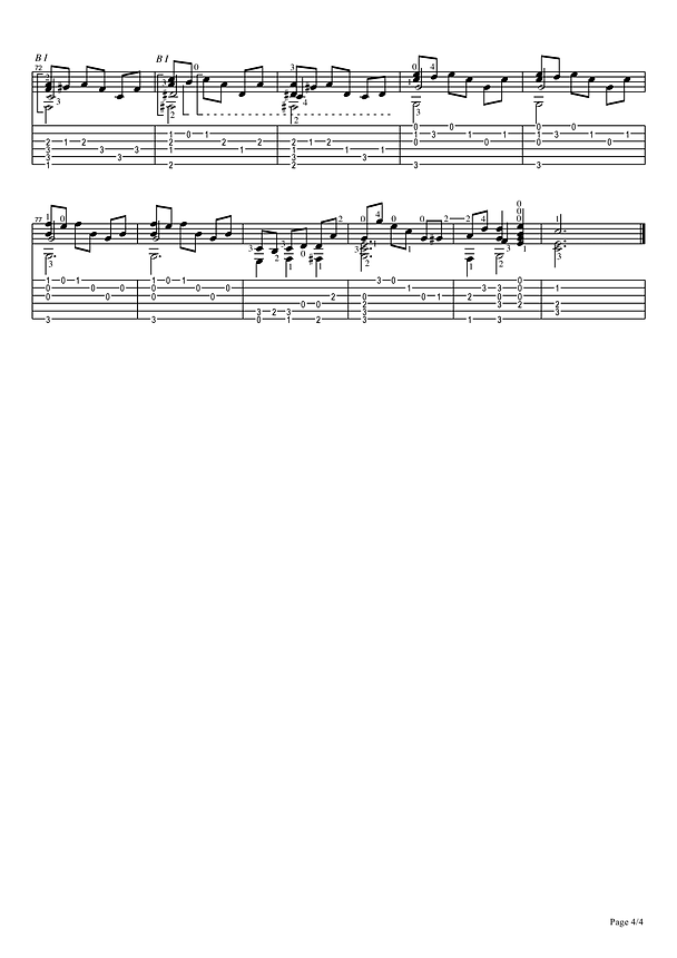 Sheet music and tablature prelude in C major for classical guitar. 4 page.