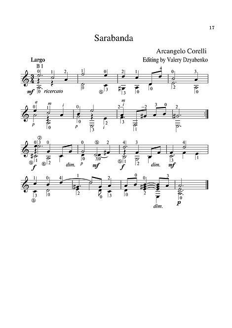 Sheetmusic. Composer Arcangelo Corelli. Sarabande. Arrangement for guitar. page 17.Noten. Komponist Arcangelo Corelli. Sarabande. Arrangement für Gitarre. Seite 17.Partitura. Compositor Arcangelo Corelli Sarabande Arranjo para guitarra. página 17.Partitura. Compositor Arcangelo Corelli, Sarabande, Arreglo para guitarra. página 17.Sheetmusic. Cumadóir Arcangelo Corelli. Sarabande. Socrú don ghiotár. lch 17.Partition. Compositeur Arcangelo Corelli, Sarabande, arrangement pour guitare. page 17.Spartito. Compositore Arcangelo Corelli, Sarabande, arrangiamento per chitarra. pagina 17.Sheetmusic. Kompositör Arcangelo Corelli, Sarabande, arrangemang för gitarr. sida 17.Bladmuziek. Componist Arcangelo Corelli, Sarabande, arrangement voor gitaar. pagina 17.Sheetmusic. Säveltäjä Arcangelo Corelli, Sarabande. sivu 17.Muzyka arkuszowa. Kompozytor Arcangelo Corelli. Sarabande Aranżacja na gitarę. strona 17.Nótnablöð. Tónskáld Arcangelo Corelli, Sarabande. Útgáfa fyrir gítar. bls. 17.